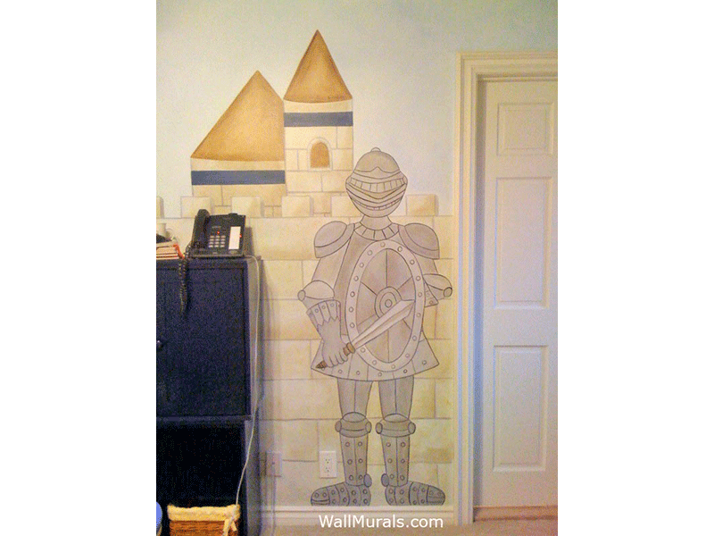 Knight Guarding Castle Wall Mural
