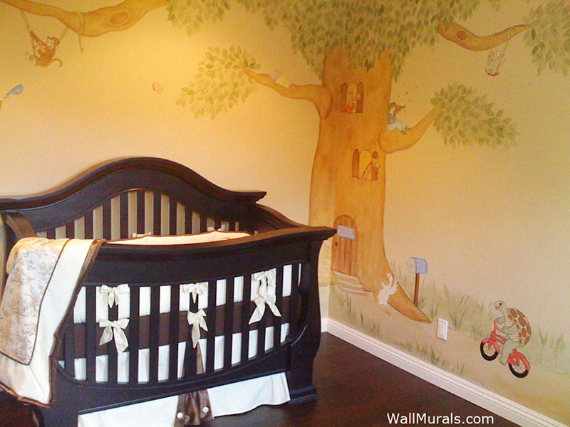 Whimsical Tree Mural with Animals