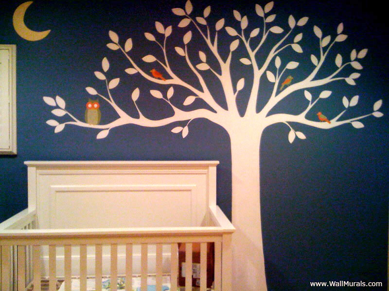 White Tree Wall Mural in Nursery