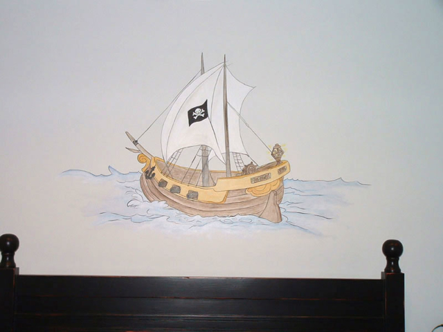 pirate theme wall murals examples of pirate wall murals pirate ship amp treasure island cartoon pirate wall mural