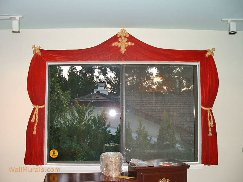 Painted Red Curtain around Window