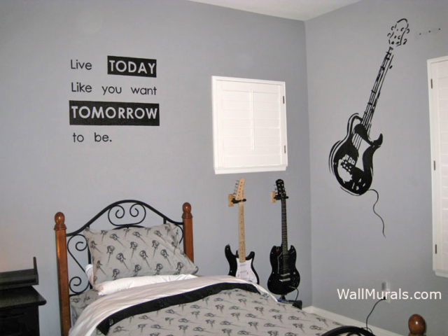 Teen Mural - Guitar Mural with Painted Quote on Wall