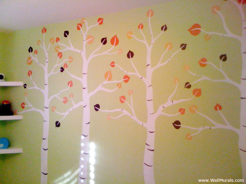 Tree wall murals 50 hand painted tree wall mural examples for Aspen tree wall mural