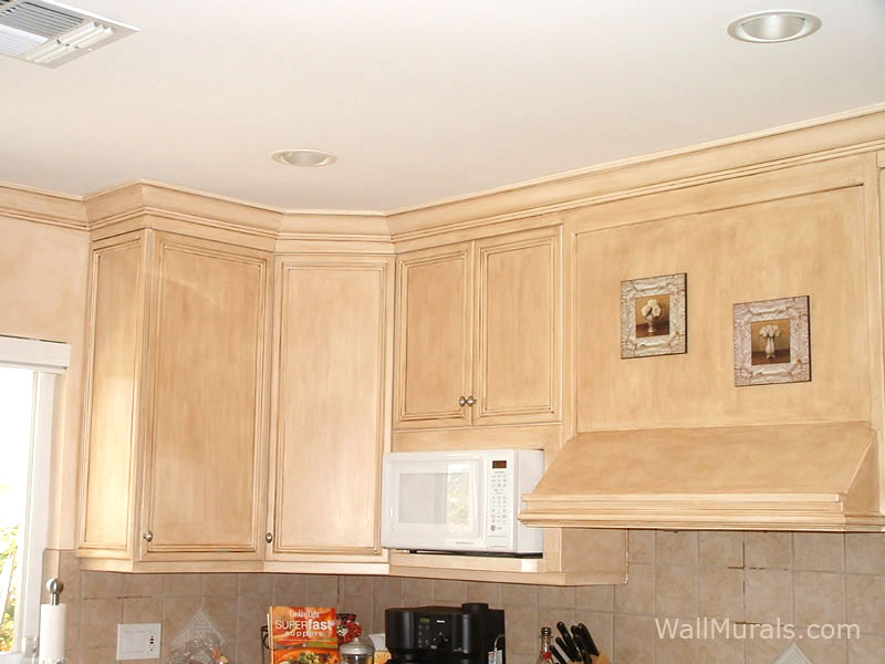 Antiqued Faux Rubbed Cabinets in Kitchen