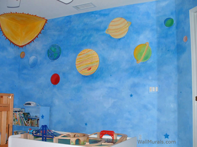 Space wall murals examples custom outer space wall murals for Examples of mural painting