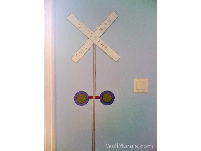 Railroad Crossing Sign Mural