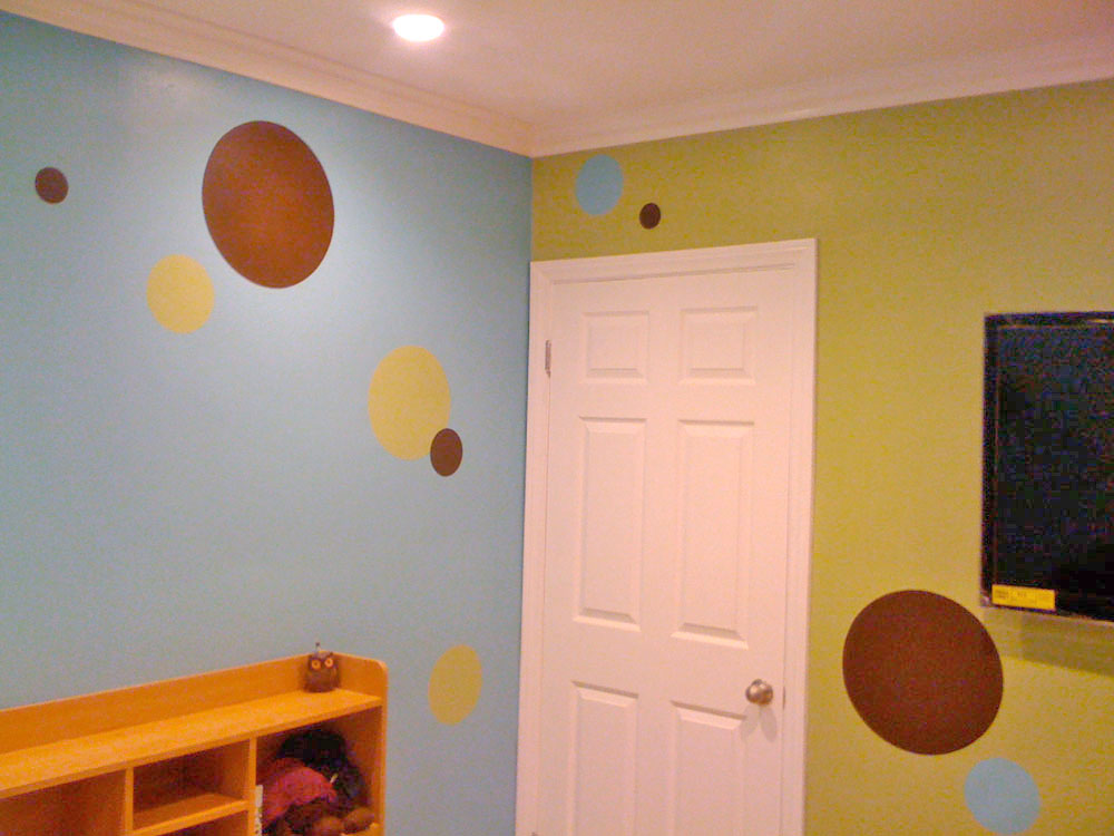 Brown - Turquoise - Green Polka Dot Mural for Tween
