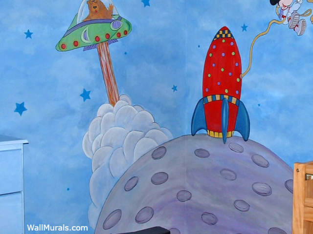 Space Mural with Rocket and Spaceship