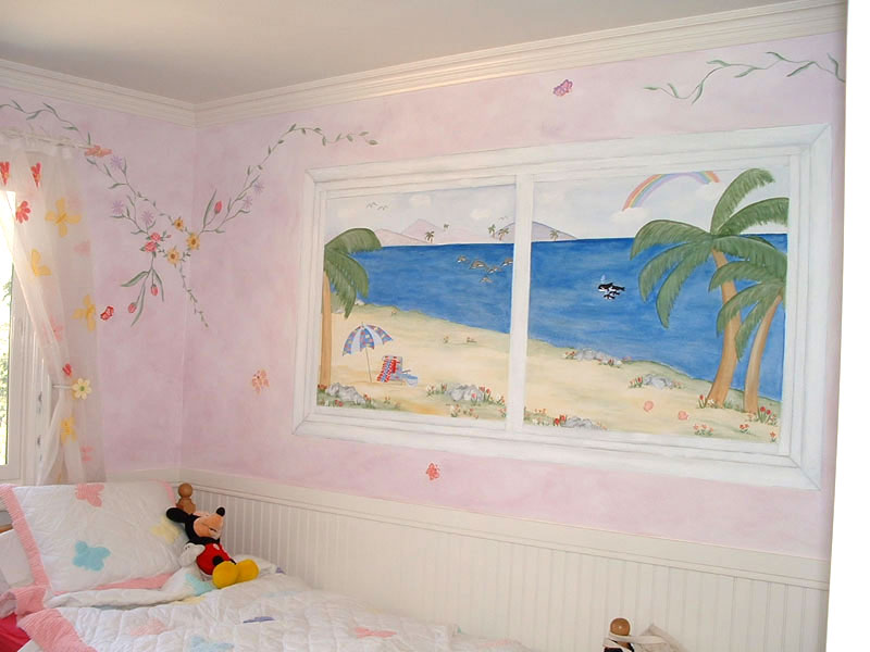 Painted Window Mural with Ocean View