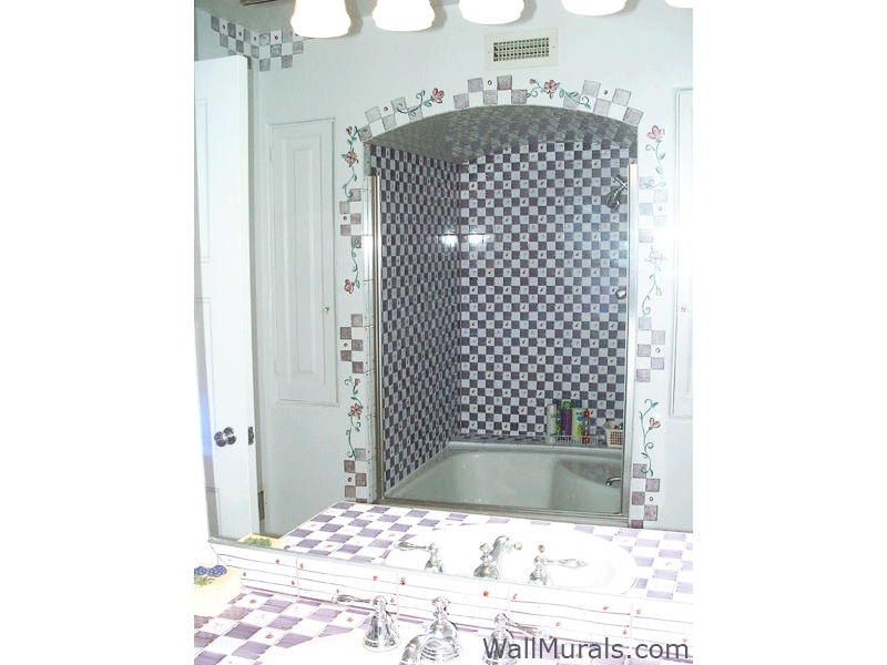 Bathroom Border Hand-Painted to Match Checkered Tile