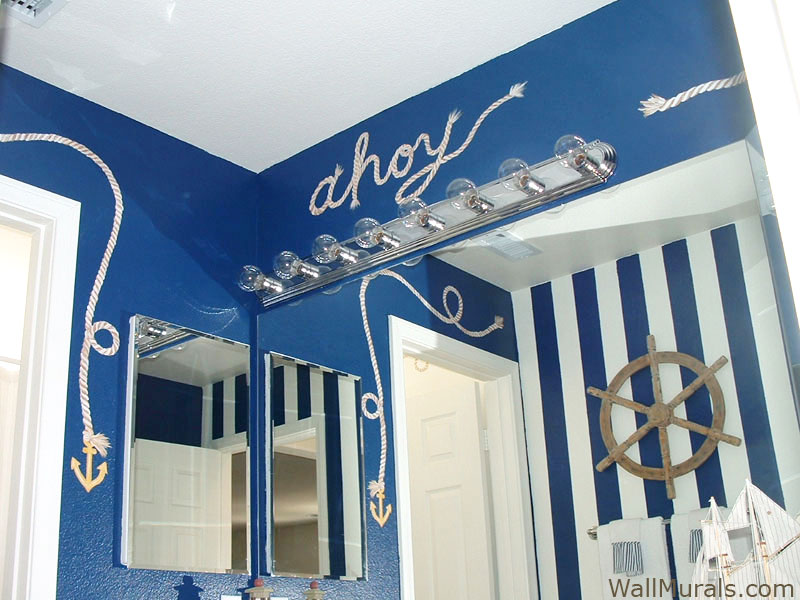 Nautical Bathroom Mural   Ahoy   Rope. Examples of Wall Murals hand painted in Bathrooms and Powder Rooms