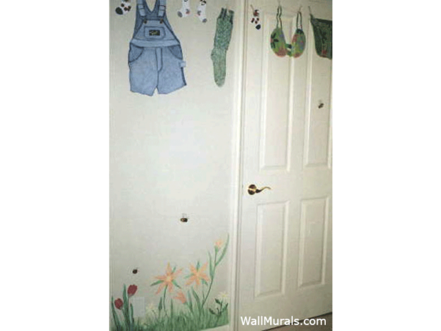 Painted Clothes Line Mural in Laundry Room