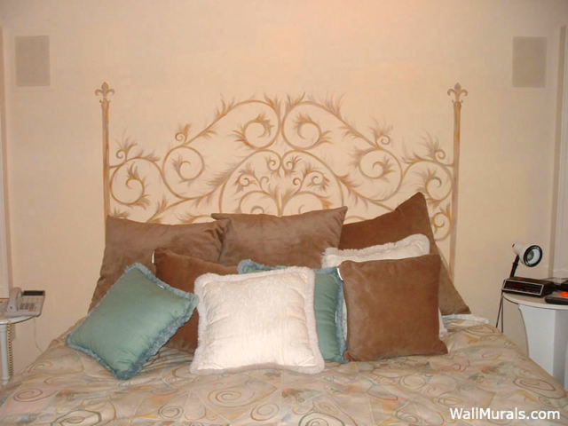 Master bedroom wall murals for Painted headboard on wall