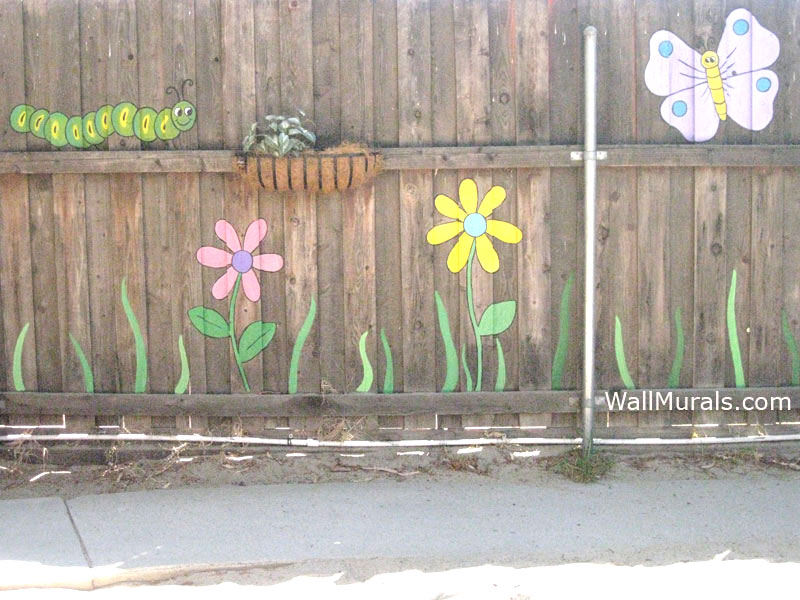 Lovely Murals For Outside Walls Part   4: Mural Painted Outside On Fence