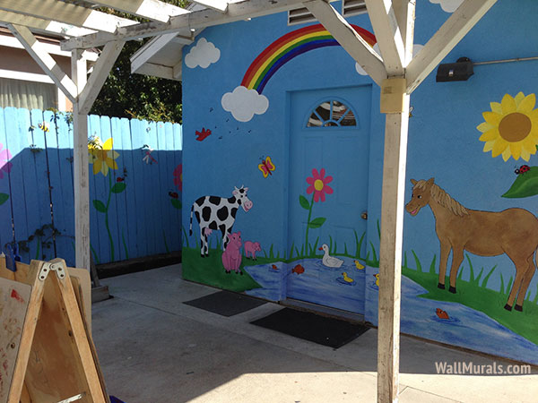 outside wall murals outdoor mural examples day care murals