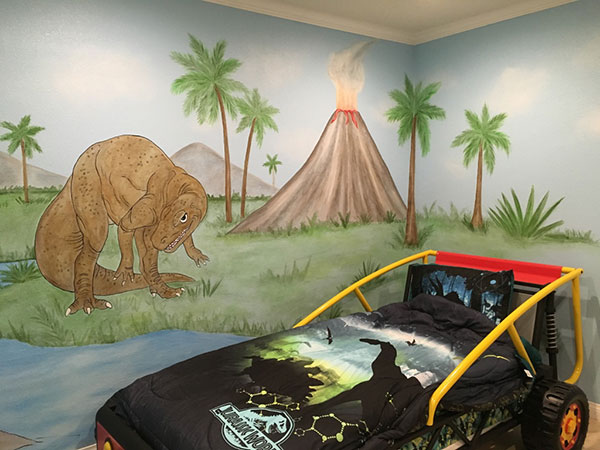 Dinosaur wall mural examples photos and video for Dinosaur mural ideas