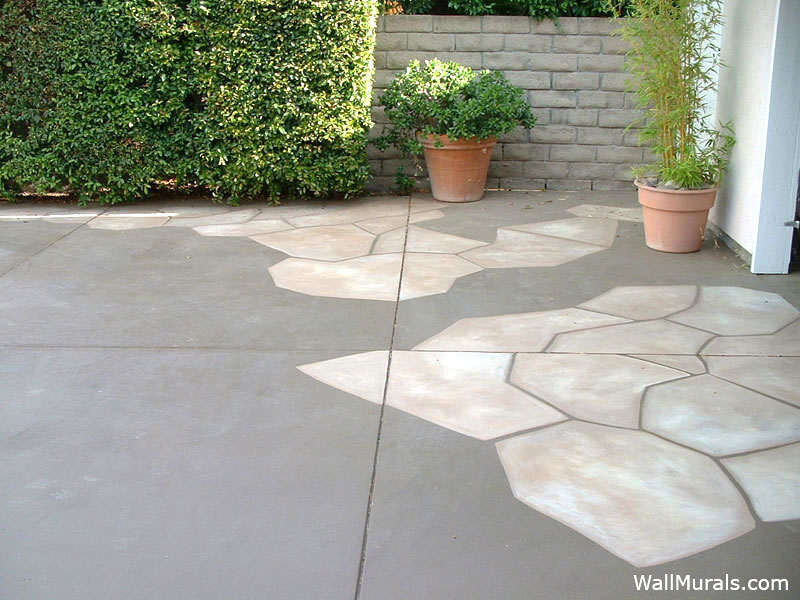 Stones Painted on Cement Driveway