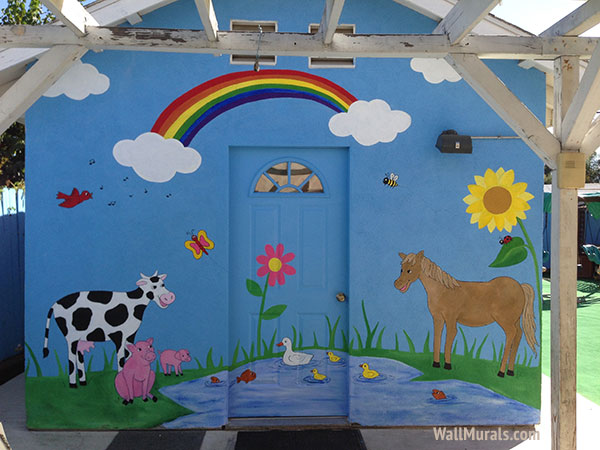 Preschool wall murals daycare murals playroom mural for Barnyard wall mural