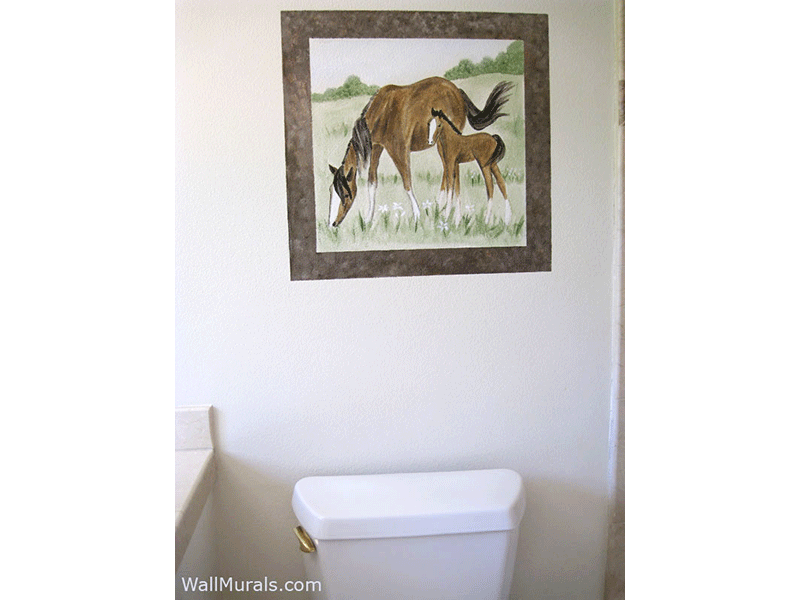 Horse Mural in Bathroom. Examples of Wall Murals hand painted in Bathrooms and Powder Rooms