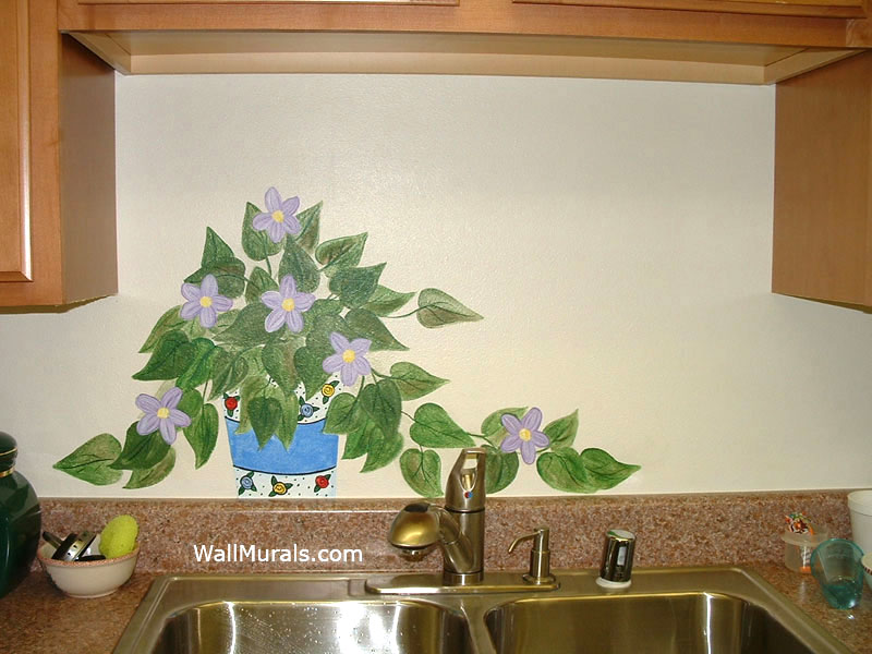 Painted Plant on Wall