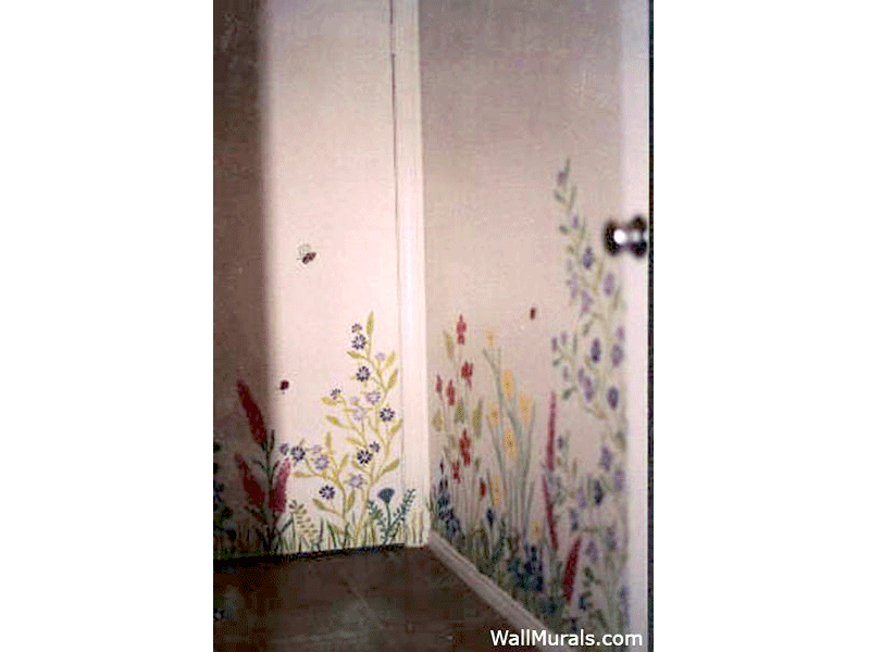 Laundry Room Wall Mural with Wild Flowers