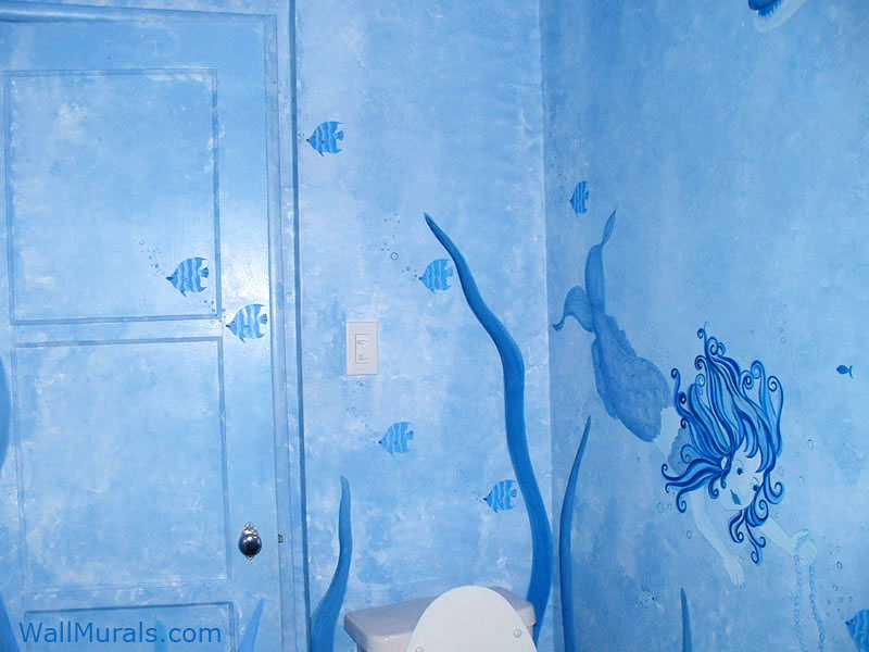 Bathroom Wall Mural with Mermaid. Examples of Wall Murals hand painted in Bathrooms and Powder Rooms