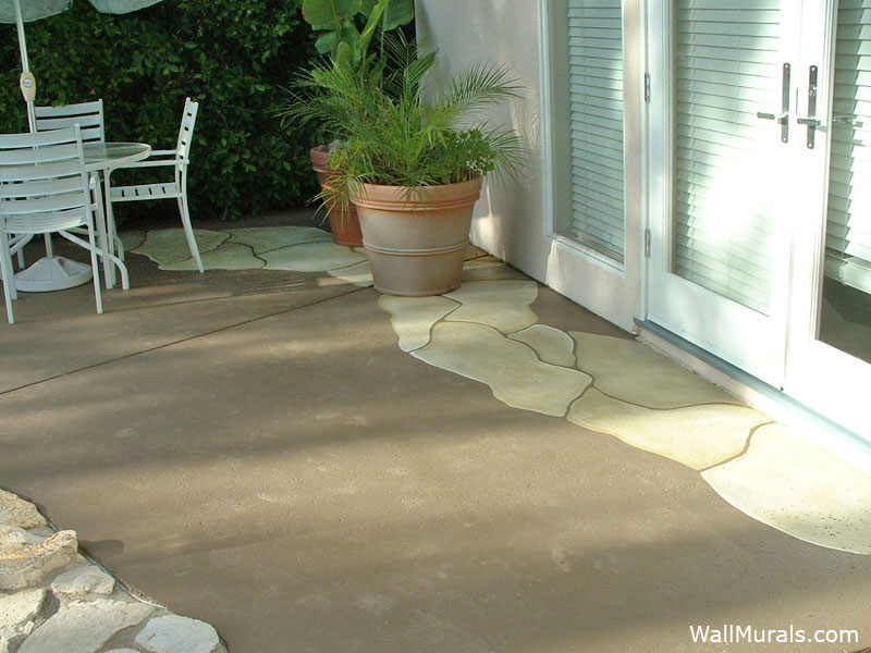 Painted Cement with Faux Stones