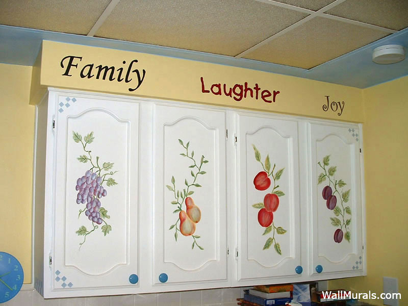 painted kitchen cabinets with fruit