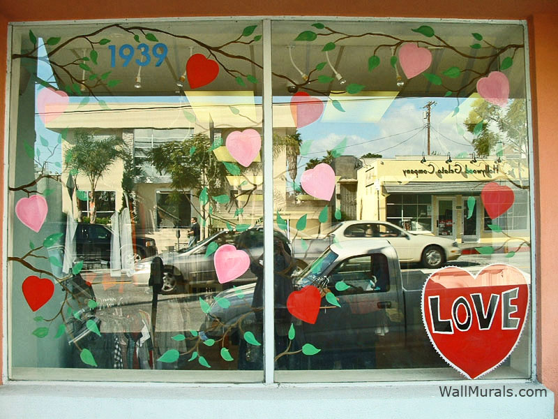 Painted Store Window for Valentine's Day