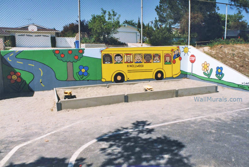 School Bus Mural on Playground Wall