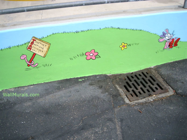 Mural Painted on Exterior Wall - School Playground