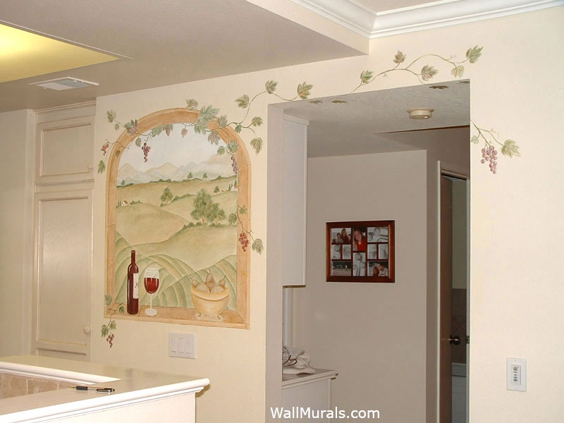 ... Painted Wall Mural Pictures Gallery · Vineyard Mural In Kitchen Part 75