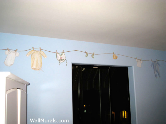 Vintage Baby Clothes on Clothes Line Mural