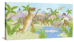 Thirsty Dinosaurs - Canvas Wall Art