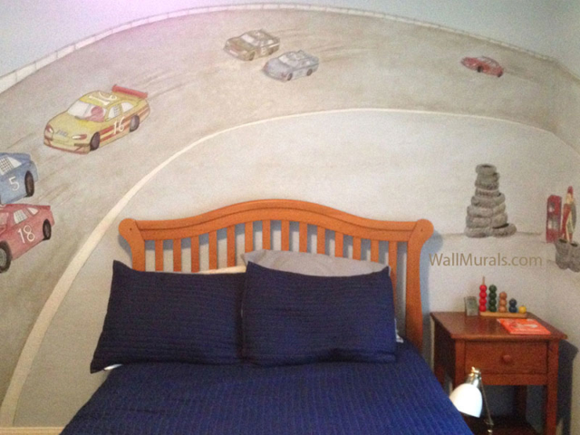 Race Car Mural in Boys Bedroom