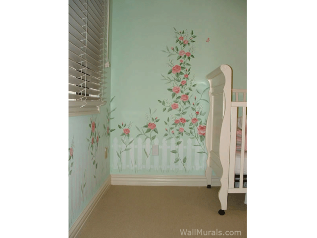 Picket Fence Wall Mural in Nursery