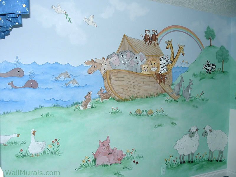 Noahs Arc Wall Mural in Nursery
