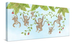 Monkey Business (with Flowers) - Canvas Wall Art