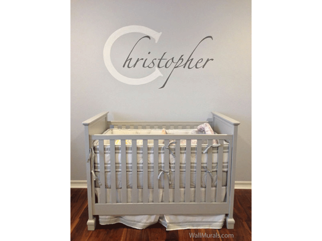 Name Painted Over Crib in Nursery