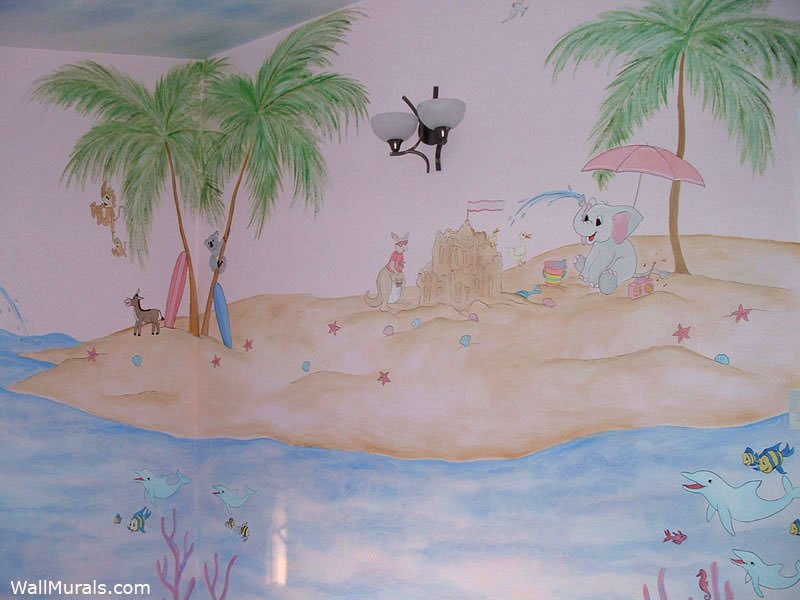 Island Mural with Animals in Nursery