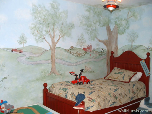 Farm Wall Mural in Boys Bedroom