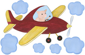 When Pigs Fly - Red Airplane - Decal Sheet