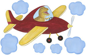 Racy Rex - Red Airplane - Wall Decal