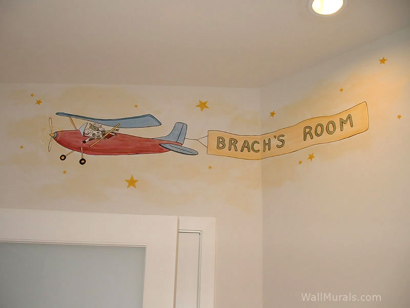 Baby room wall murals nursery wall murals for baby boys for Airplane wall mural