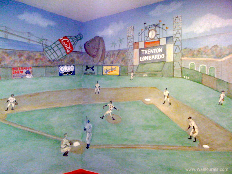 Boys room wall murals 60 different examples of wall for Baseball field wall mural