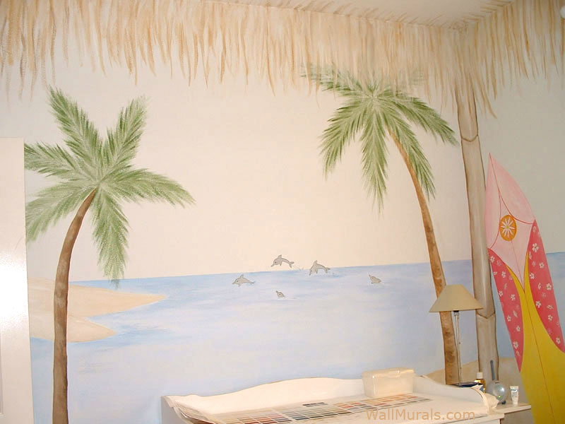 Cabana Mural in Baby Room