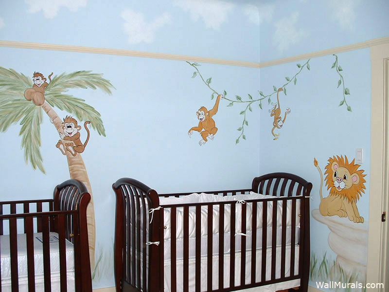 Baby room wall murals nursery wall murals for baby boys for Baby jungle mural