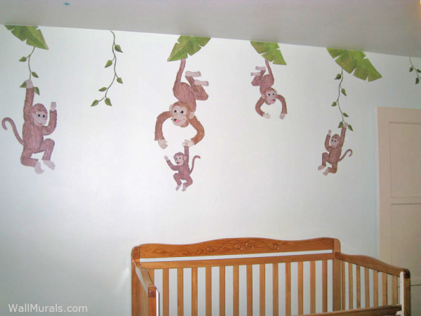 5 Little Monkey Wall Decals - Installed