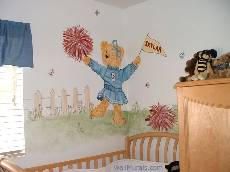 Baby room wall murals nursery wall murals for baby boys for Cheerleader wall mural