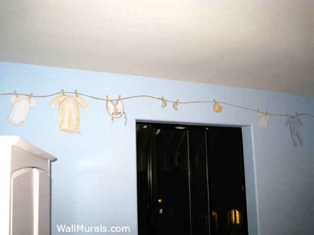 Painted Clothes Line Mural in Baby Room